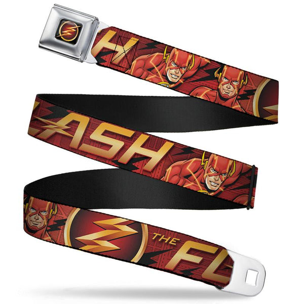 DC Comics Flash Poses Full Color Seat Belt Buckle Belt - Kryptonite Character Store