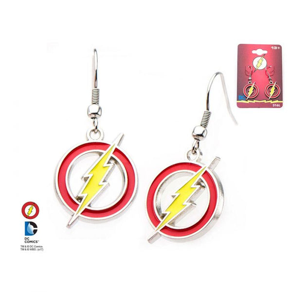 The Flash Logo with Stainless Steel Hook Earrings