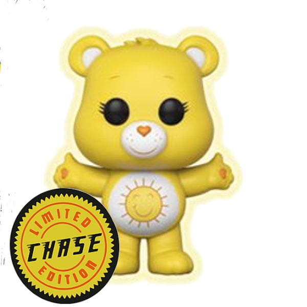 Funko Pop! Animation: Care Bears - Funshine Bear CHASE Variant Glow in the Dark Vinyl Figure (Packed with Pop Box Protector Case) - Kryptonite Character Store