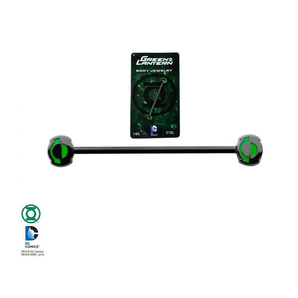 14g 1 3/8s Black Plated Green Lantern Industrial Barbell