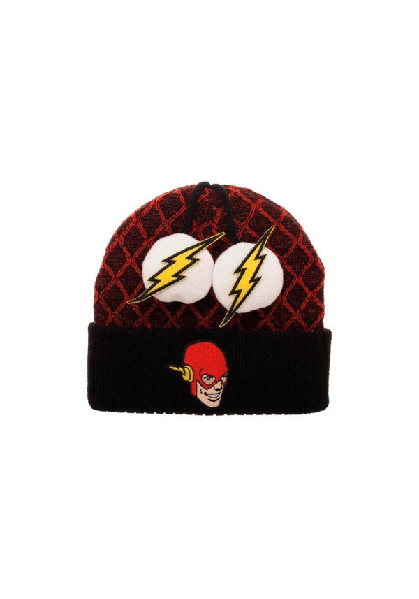 The Flash Faces Lightning Bolts Poms Beanie Hat
