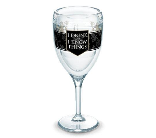 "Game of Thrones ""I Drink and I Know Things"" 9 oz. Tervis Wine Glass- Kryptonite Character Store"