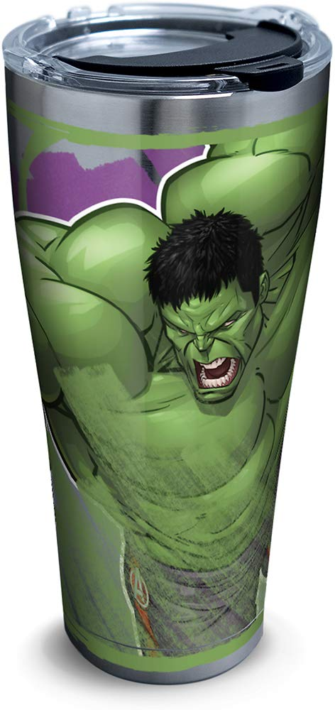 Marvel - Hulk Iconic Insulated Travel Tumbler with Lid, 30oz - Stainless Steel, Silver- Kryptonite Character Store