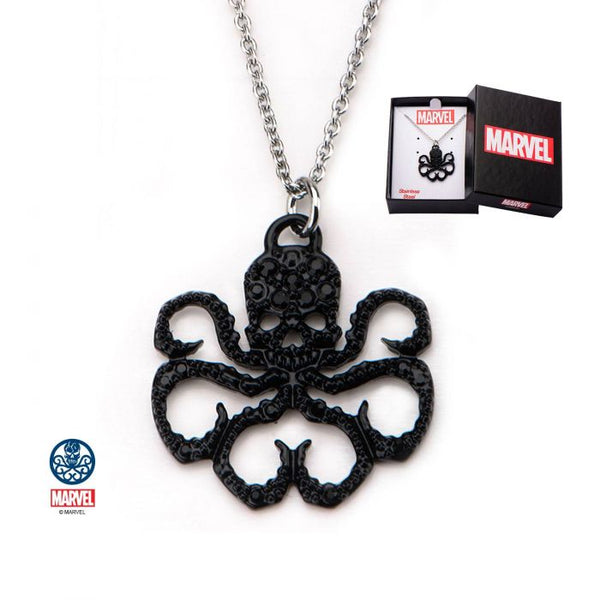 Stainless Steel Black IP & Black Gem Hydra Pendant Necklace