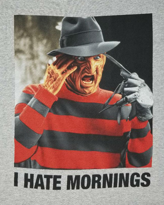 Freddy Krueger - I Hate Mornings - Horror Novelty Funny Adult T-shirt - Kryptonite Character Store