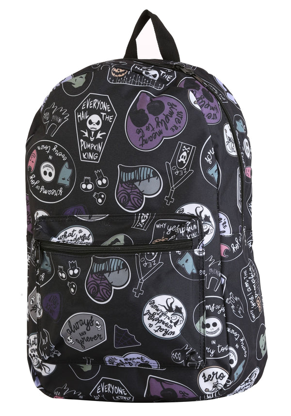 Nightmare Before Christmas Patches Sublimated Backpack - Nightmare Before Christmas Bag - Nightmare Before Christmas - Kryptonite Character Store