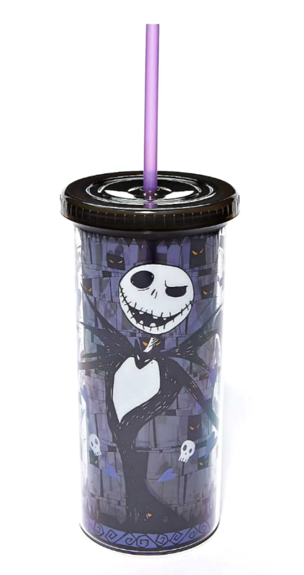 Jack Skellington Skull and Heart Cup with Straw - Kryptonite Character Store