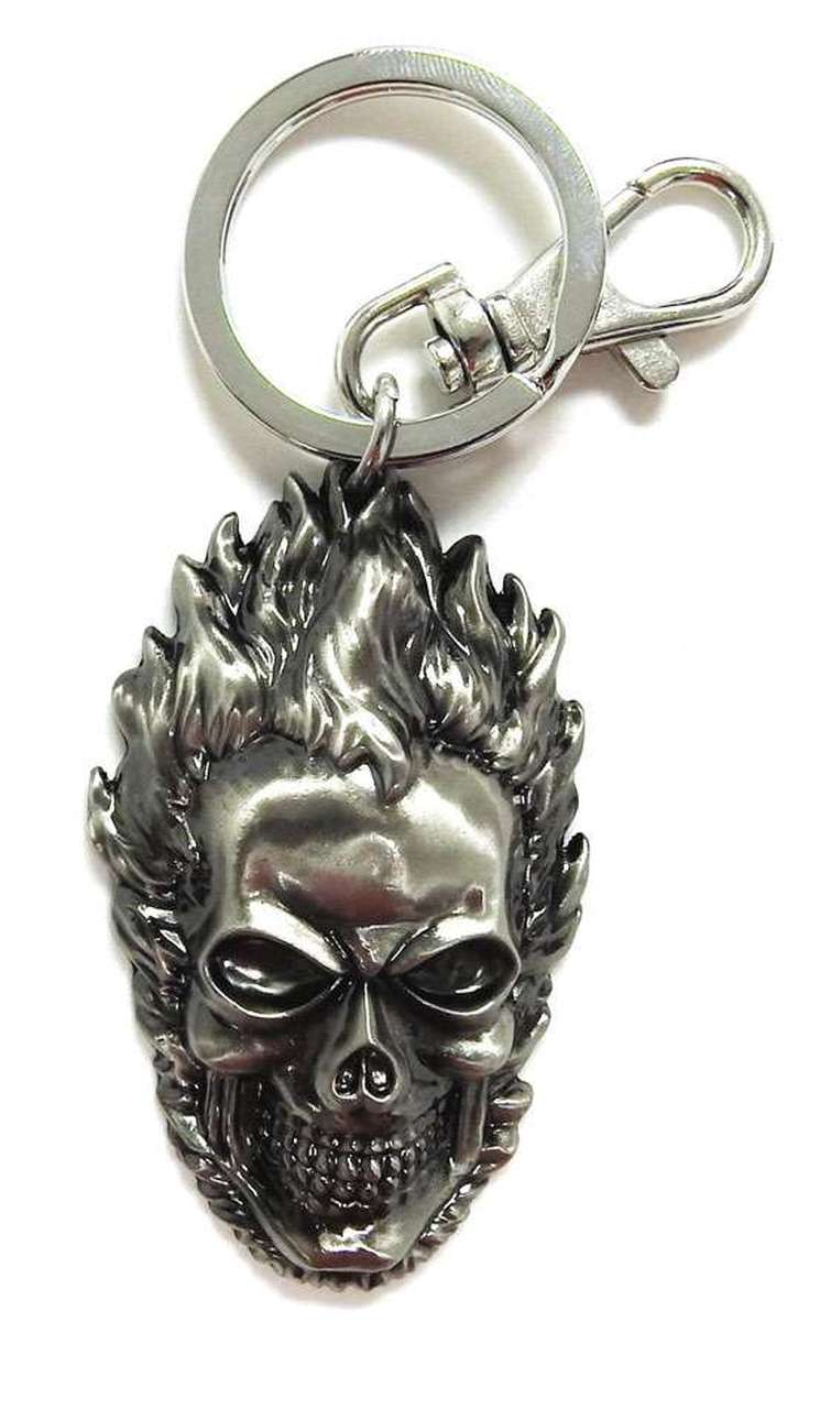 Marvel Ghost Rider Head Pewter Key Ring