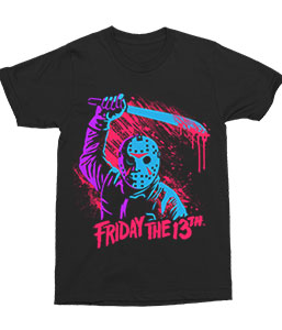 Friday The 13th - Jason Swinging Machete - Adult Horror T-shirt - Kryptonite Character Store