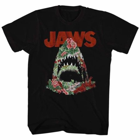 JAWS Movie Inferior - Floral Print Shark Adult Fitted Short Sleeve T-shirt - Kryptonite Character Store