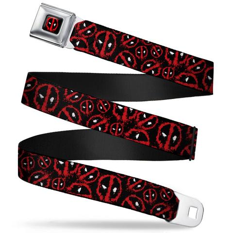 Marvel Deadpool Splatter Logo Black/Red/White Seatbelt Belt - Kryptonite Character Store