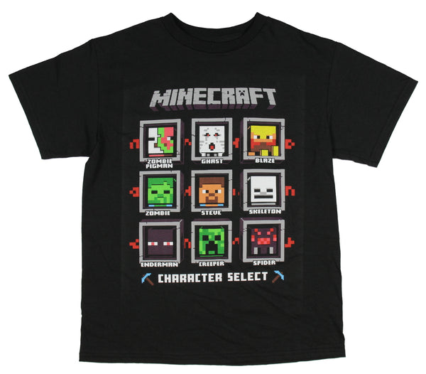 Minecraft Adventure - Boys' Size Character Group T-shirt - Kryptonite Character Store