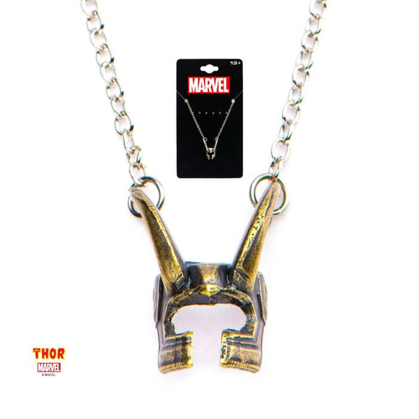 Casted Brass Loki Helmet Pendant with Stainless Steel Chain Necklace