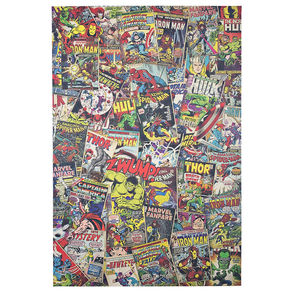 "Marvel Comic Book Covers Collage Wrapped Canvas Poster 36"" x 24"" - Kryptonite Character Store"