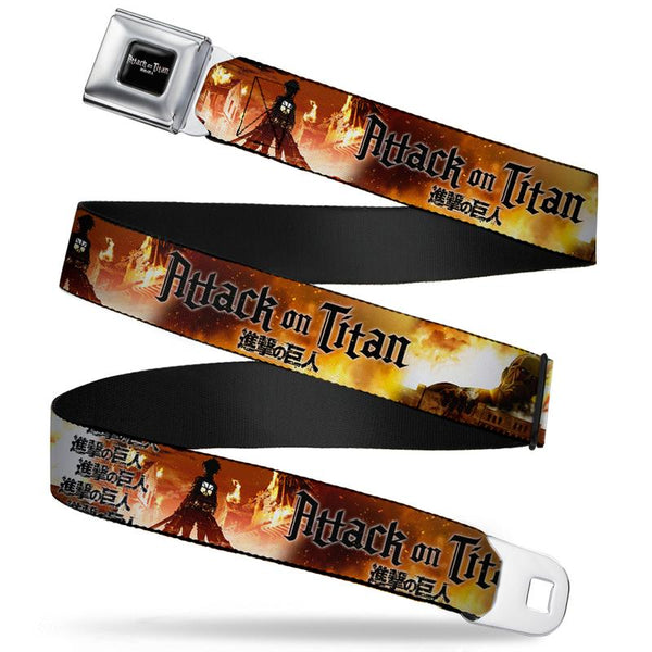 Attack on Titan Logo Full Color Black/White/Red Seatbelt Buckle Belt
