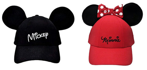 Disney Mickey Mouse Ears Black Cap   Minnie Mouse With Bow   Ears Red Cap  Bundle ab639928d1be