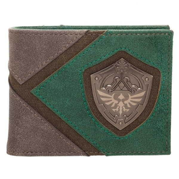 Zelda Green Metal Badge Men's Bi-Fold Wallet