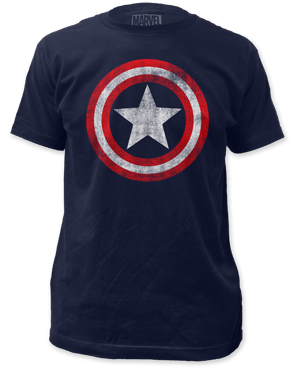 Marvel - Captain America Distressed Logo Adult T-shirt - Kryptonite Character Store