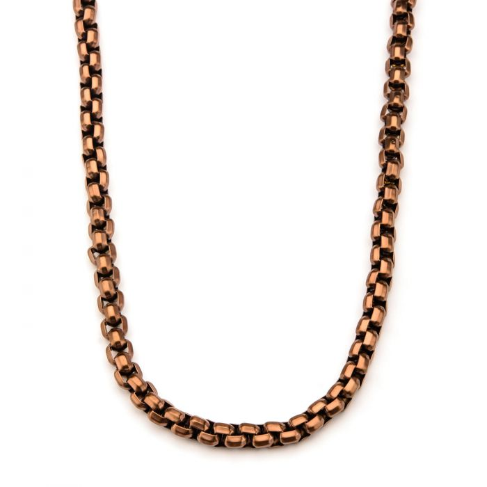 Rose Gold Plated Round Box Chain Necklace
