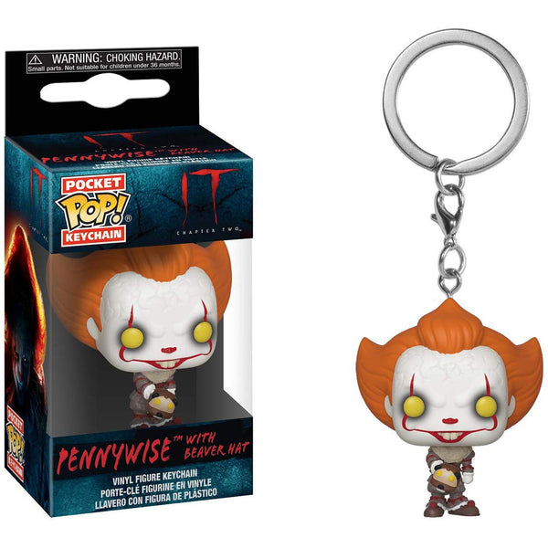 IT Pennywise with Beaver Hat Pocket Pop Mini-Figural Keychain - Kryptonite Character Store