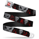 Punisher Logo Close Up Full Red/Black Seatbelt Buckle Belt - Kryptonite Character Store