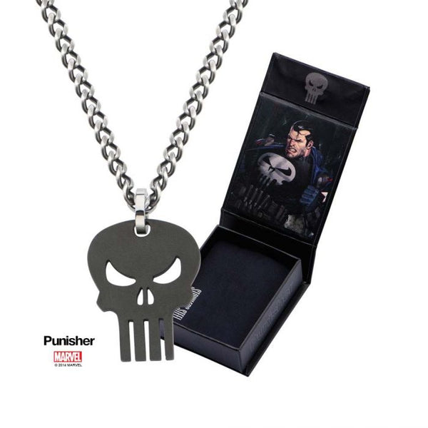 Stainless Steel IP Black Punisher Skull Pendant with 24 inch Chain