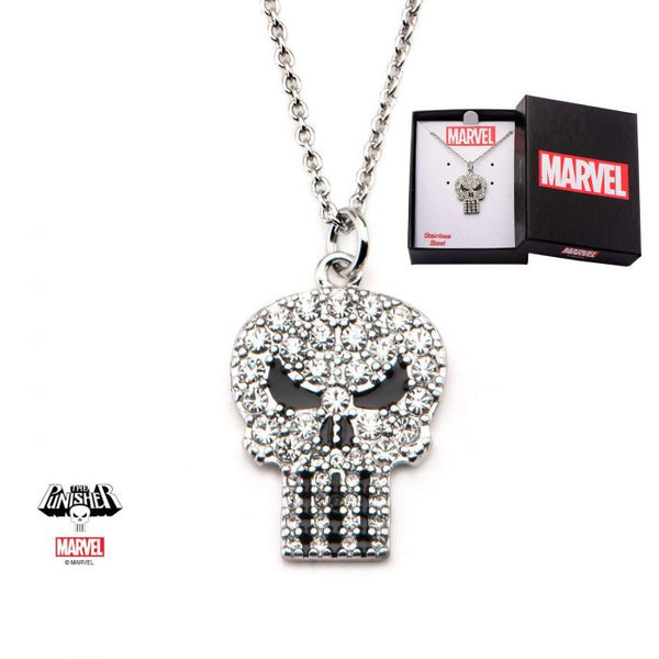 Punisher Clear Gem Skull with Gems Pendant Necklace