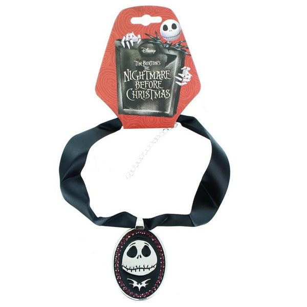 Disney: NBC - Jack Skellington Necklace Crystal Ribbon Choker Face