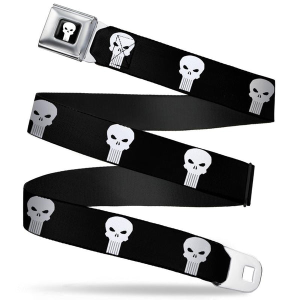 Punisher  Logo3 Full Color Black/White Seatbelt Belt - Kryptonite Character Store