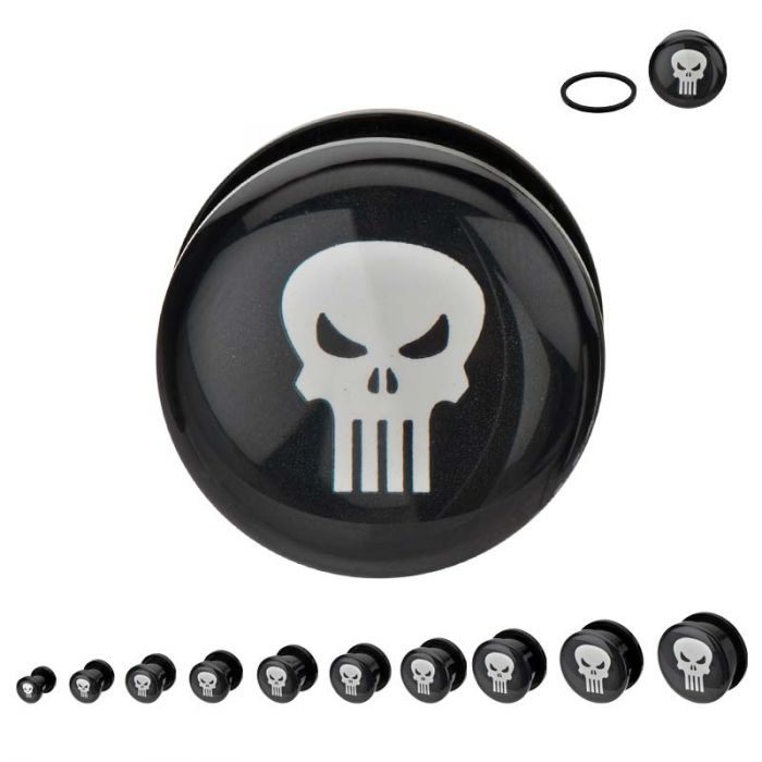 Punisher Acrylic Screw Fit Plugs - Kryptonite Character Store
