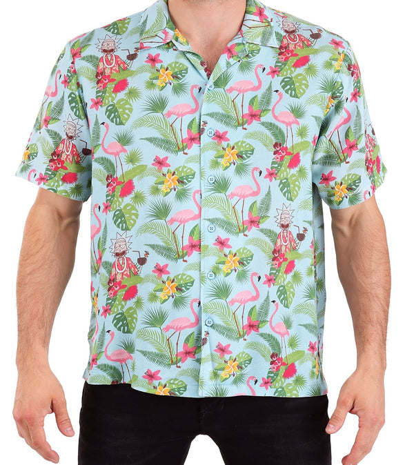 Rick & Morty Rick Hawaiian Style Woven Button Down Adult T-Shirt - Kryptonite Character Store