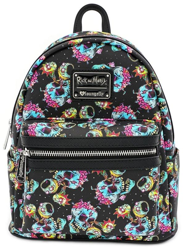 Loungefly x Rick and Morty Skull Heads All-Over Print Mini Backpack - Kryptonite Character Store