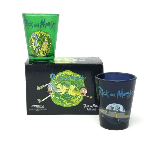 Rick and Morty 2-Pack Shot Glass Set in Colorful Gift Box