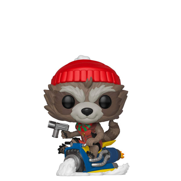 Pop Marvel: Holiday - Rocket Raccoon On Sled - Kryptonite Character Store