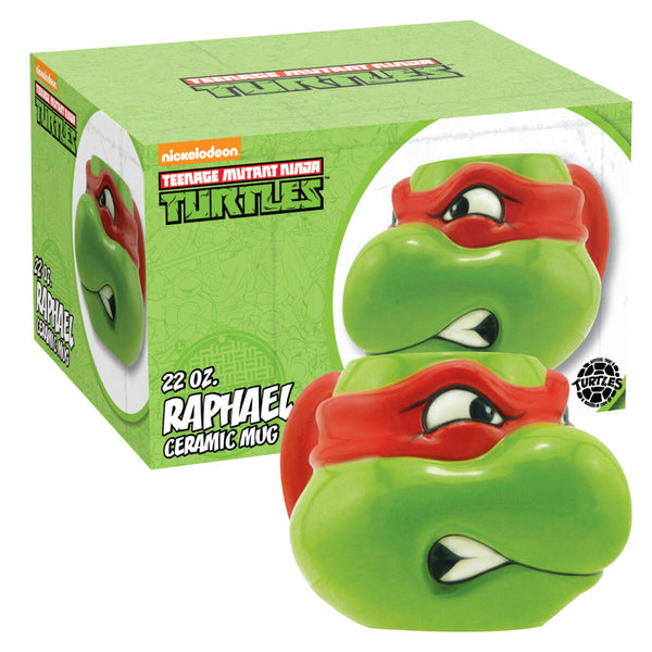 Teenage Mutant Ninja Turtles Raphael Molded Head Image Figural Ceramic 16 oz Mug