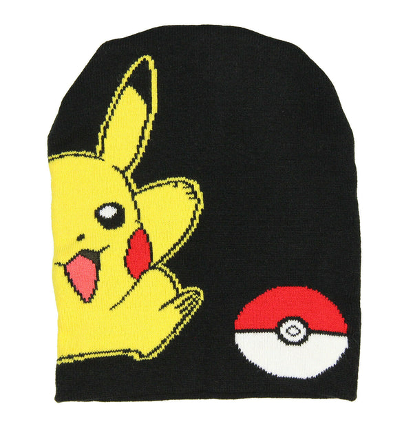 Pokemon Pikachu and Poke Ball Black Beanie