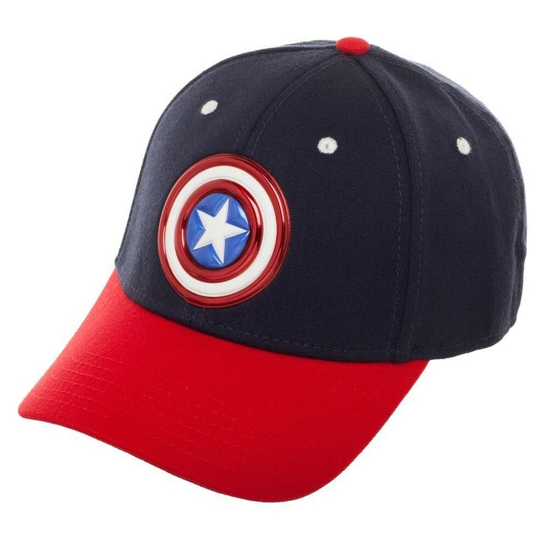 MARVEL COMICS CAPTAIN AMERICA LOGO FLEX FIT STRETCH CURVED BILL HAT - Kryptonite Character Store