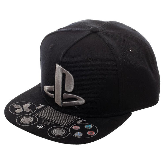e238eb57cc793 Playstation Logo Snapback Hat with Embroidered Control Buttons - Kryptonite  Character Store ...