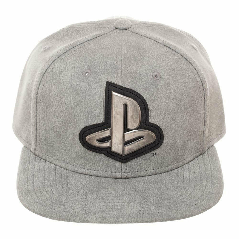 Playstation Gray Distressed Metal Logo Snapback Hat Grey - Kryptonite Character Store