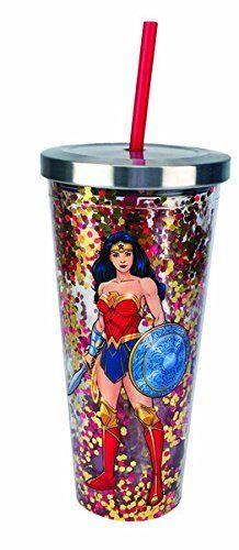 DC Comics - Wonder Woman Logo Glitter Cup w/Straw