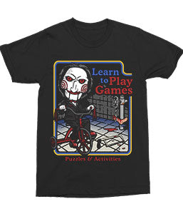 Saw Horror Movie Jigsaw Puppet on Bike Learn to Play Games T-Shirt