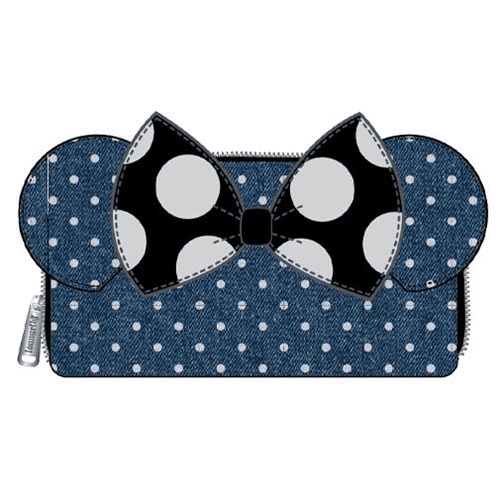 Loungefly Minnie Mouse Denim Polka Dot Wallet