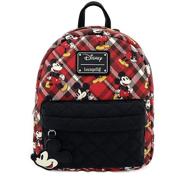 Mickey Mouse Red Plaid Nylon Pocket Mini Backpack with Charm