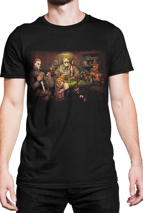 Slasher's Playing Poker Adult Fitted T-shirt - Kryptonite Character Store