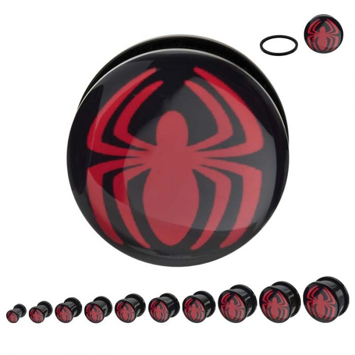 Black Acrylic Screw Fit Red Spider-Man Logo Plug