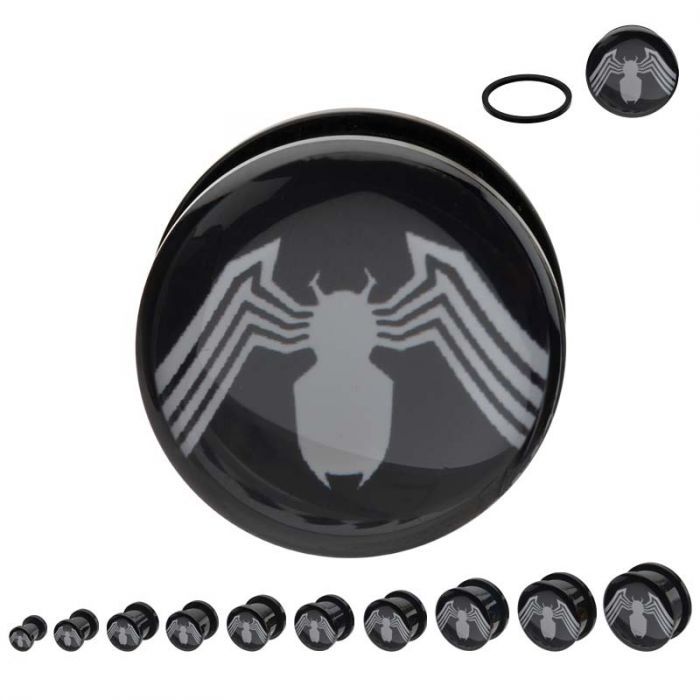 Black Acrylic Screw Fit White Spider-Man Venom Logo Plug