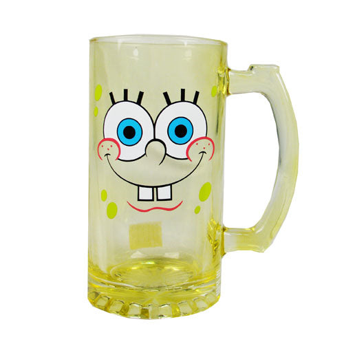 Sponge Bob 25 Ounce Yellow Glass Mug / Stein - Kryptonite Character Store