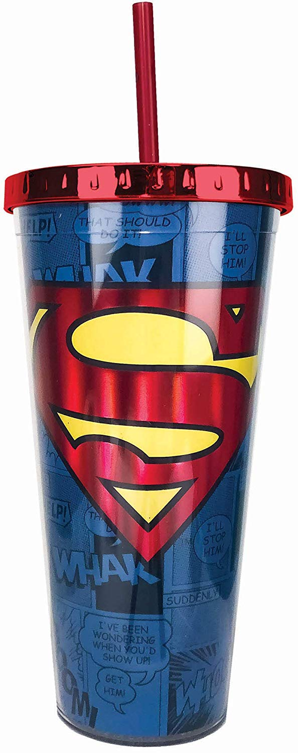 DC Comics - Superman Foil Cup w/Straw, 20 ounces, Blue - Kryptonite Character Store