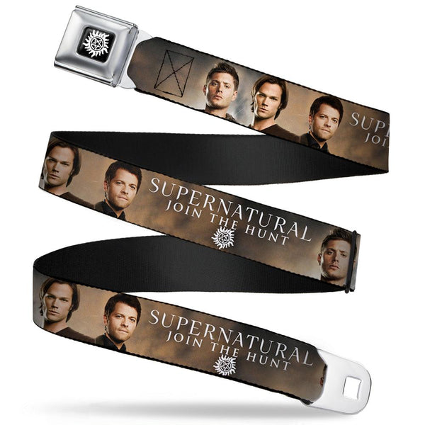 Supernatural Dean Sam & Castiel  Join The Hunt Seat Belt Buckle Belt - Kryptonite Character Store