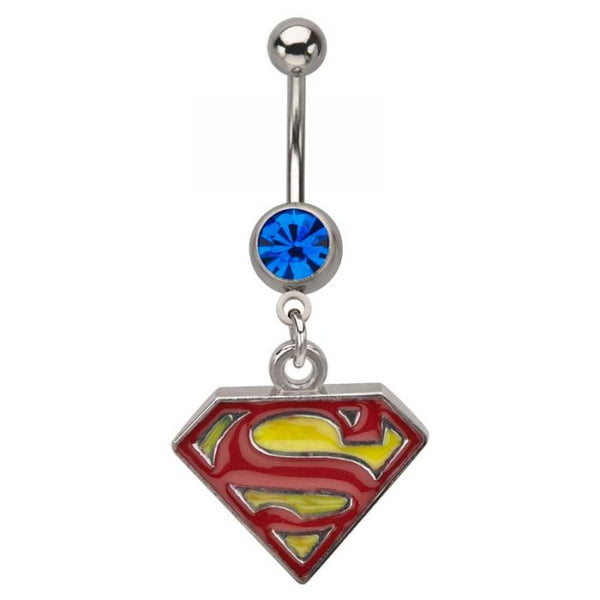 14g 7/16 Stainless Steel Superman with Gem Dangle Navels